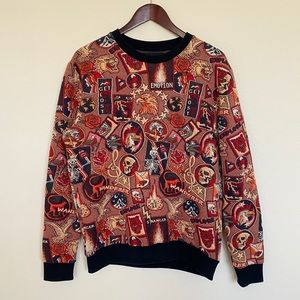 ZARA graphic sweater sweatshirt scull